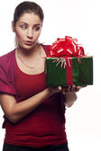 Young woman with a present — Stock Photo