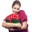 Young woman with present — Stock Photo