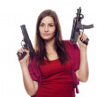 Young woman with two guns — Stock Photo #7846531