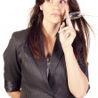 Businesswoman holding a bulb — Stock Photo