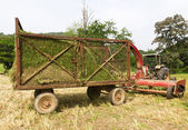 Hay wagon with tractor — Stock Photo
