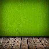 Zelené zdi a dřevěné podlahy interiér — Stock fotografie
