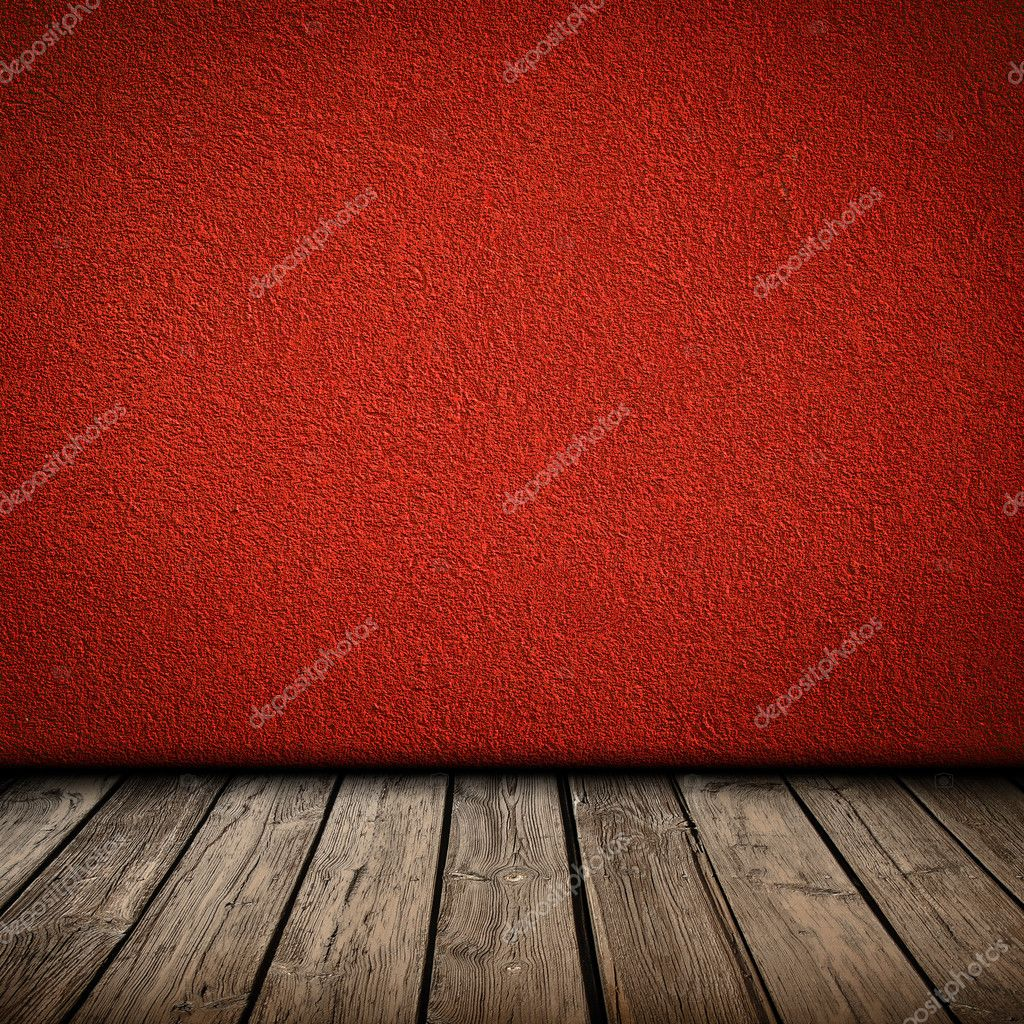 Red Wall And Wooden Floor Interior Stock Photo Zajac