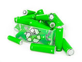 Box of green batteries — Stock Photo