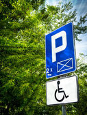 Parking place sign for disabled — Stok fotoğraf