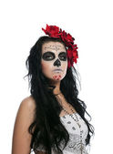 Serious woman in day of the dead mask isolated — Stock Photo