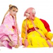 Portrait of beauty girls in kimono cosplay costume — Stock Photo