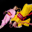 Beauty girls lay in kimono cosplay costume — Stock Photo