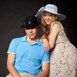 Young couple family portrait with pregnant woman — Stock Photo #6821018