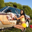 Sexy girl washing a car - pin-up style — Stock Photo