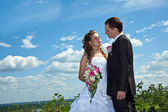 Wedding couple in sunny summer day — Stock Photo