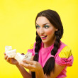Happy girl take two cake - pin-up doll costume — Stock Photo