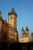 Old town square at sunset - prague — Stock Photo