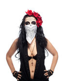 Serious woman in day of the dead mask hide face — Stock Photo