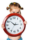 時計を持つ少女 — ストック写真