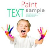 Little girl with her ??hands in the paint — Stock Photo
