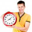 Guy with wall clock — Stock Photo