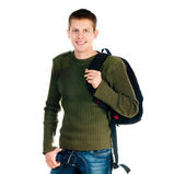 Young man with backpack — Stock Photo