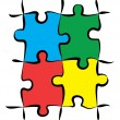 Stock Photo: colorful puzzle pieces