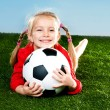 Stock Photo: Girl with soccer ball in boots