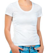 White t-shirt on a girl — Stock Photo