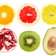 Collection of cut tropical fruits — Stock Photo