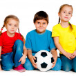 Stock Photo: Small kids with soccer ball