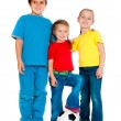 Small kids with soccer ball — Stock Photo