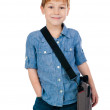 Little boy with bag — Stock Photo