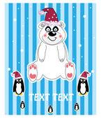 Ilustração de Natal - urso de pelúcia com chapéu, floco de neve. Vector — Vetor de Stock