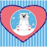 sfondo vettoriale di un'illustrazione vettoriale di simpatico orso polare — Vettoriale Stock
