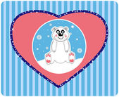 Vector background of a cute polar bear vector illustration — Stock Vector