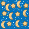 Background of night with stars and  month. Vector — Stock Vector
