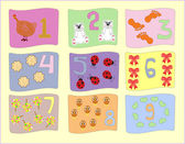 Numbers with pictures for children education vector — ストックベクタ