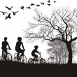 Stock Vector: Family cycling in countryside