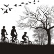 Family cycling in the countryside — Imagen vectorial
