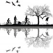 Stock Vector: Family cycling on edge of lake