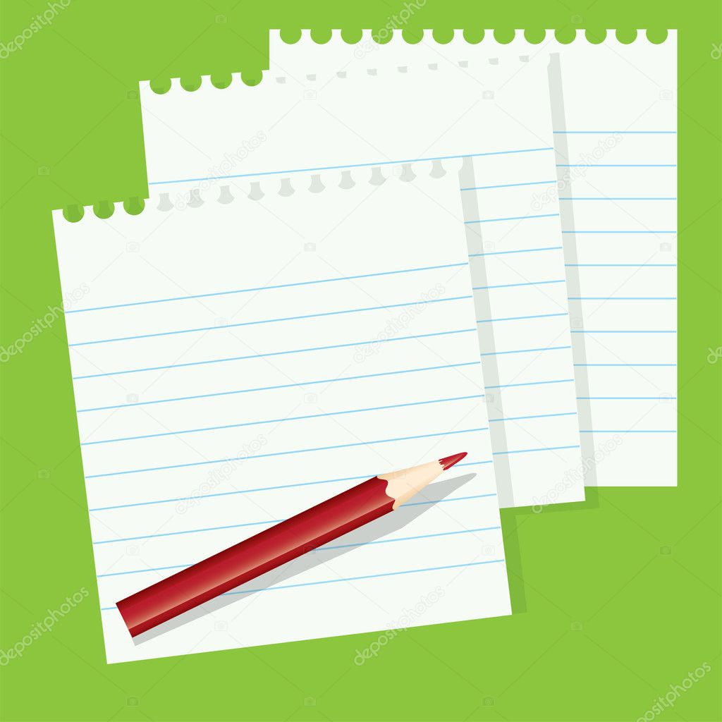 Vector sheets of paper and a red pencil — Stock Vector #6839710