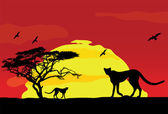 Wild african animals at sunset — Stock Vector