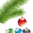 Fur tree branch and xmas decoration — Imagen vectorial