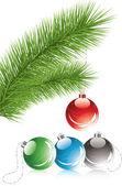мех дерево ветвь и рождественские украшения — Cтоковый вектор
