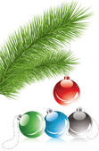 Fur tree branch and xmas decoration — Stockvector