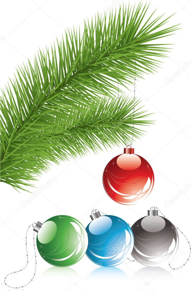 Vector fur tree branch and xmas decoration — Stock Vector #7189855