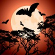 Big red moon, trees and bats — Stock Vector #7462745