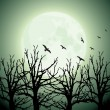 Big moon, trees and birds — Stock Vector