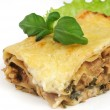 Stock Photo: Lasagnon white plate