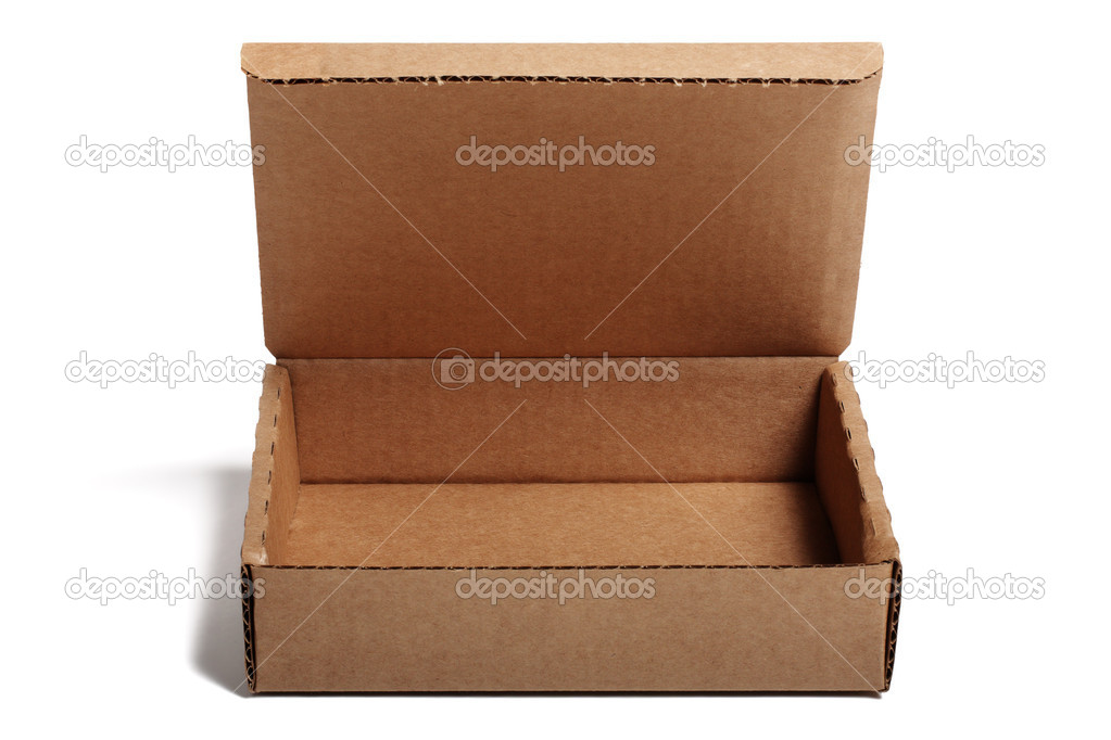 Open cardboard small box isolated on white background. — Stock Photo #7371527