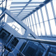 Stock Photo: Office building interior, blue tint.