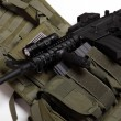 Stock Photo: Military concept. Tactical vest and assault rifle.
