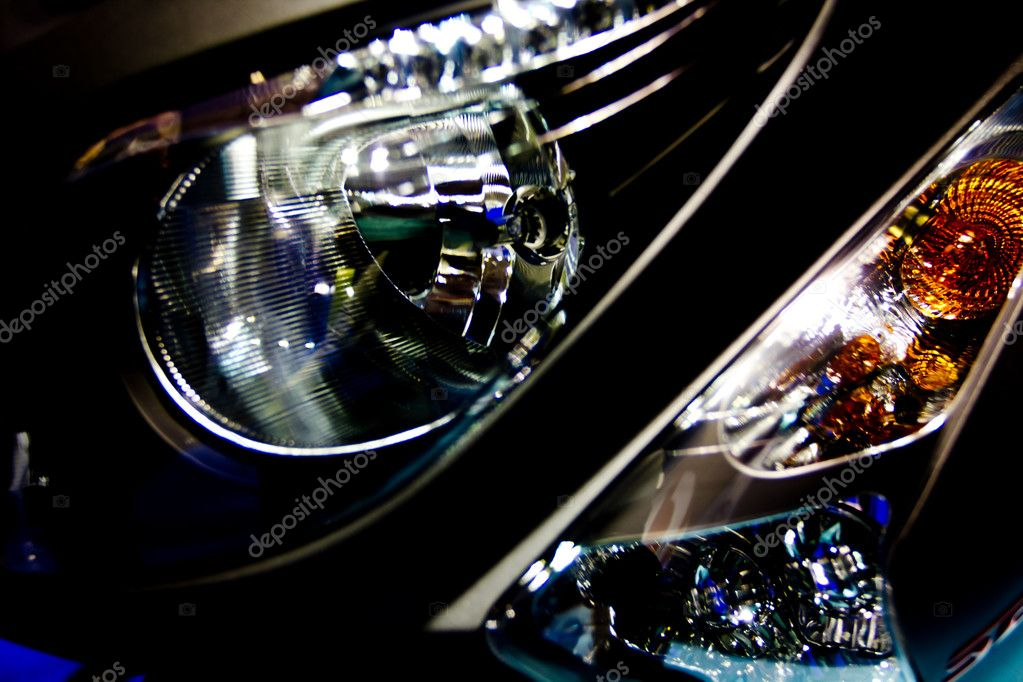 Close-up image of headlamp and turn signal of motorcycle  Stock Photo #6866196